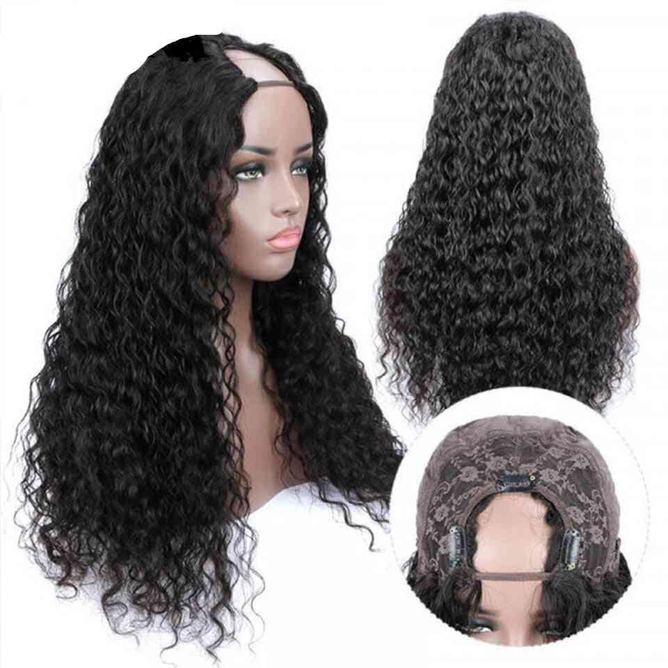 Jerry Curl U Part Wigs Human Hair Wigs Headband Wig