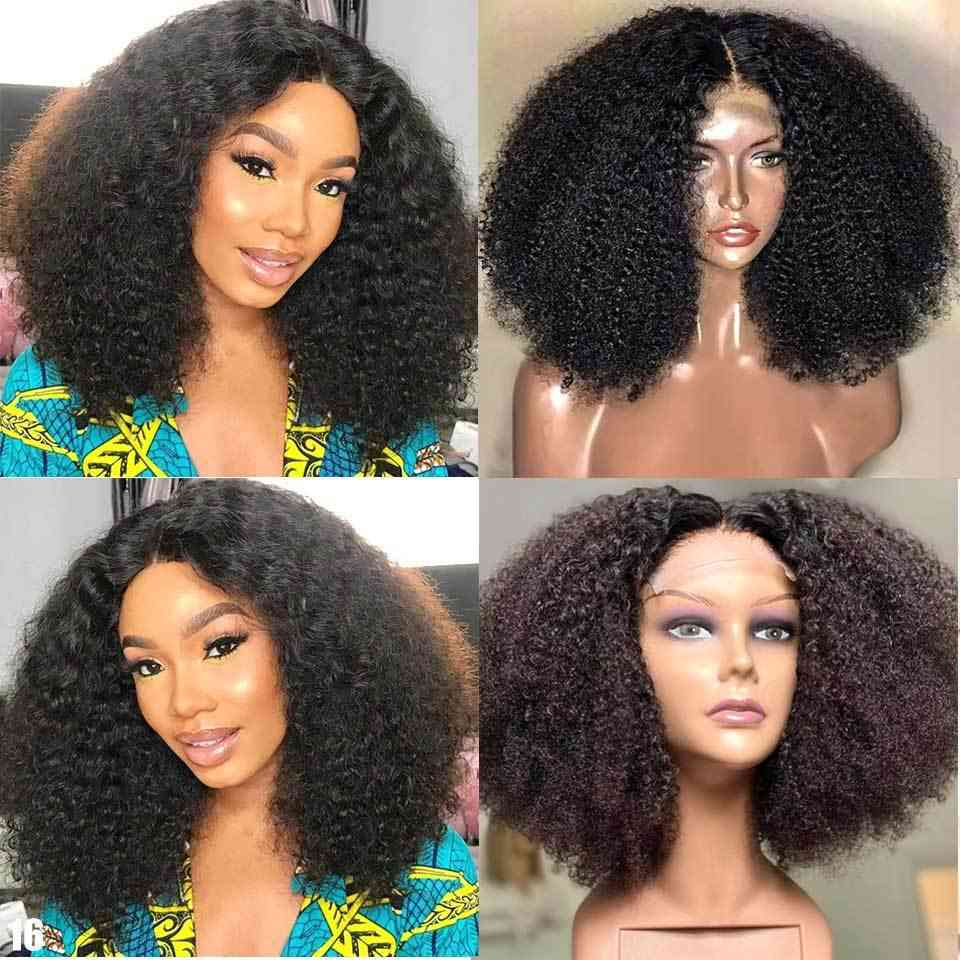 Afro Kinky Curly 4x4 Lace Closure Human Hair Wigs