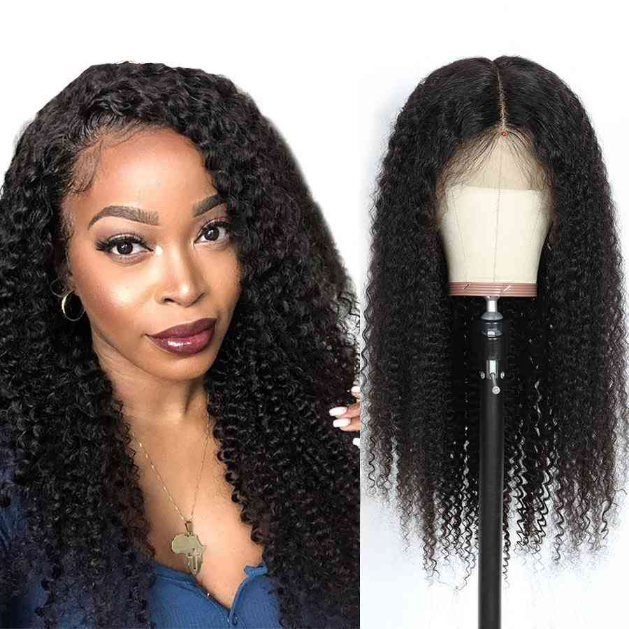 Kinky Curly 4x4 Lace Closure Human Hair Wigs 180% Density Remy