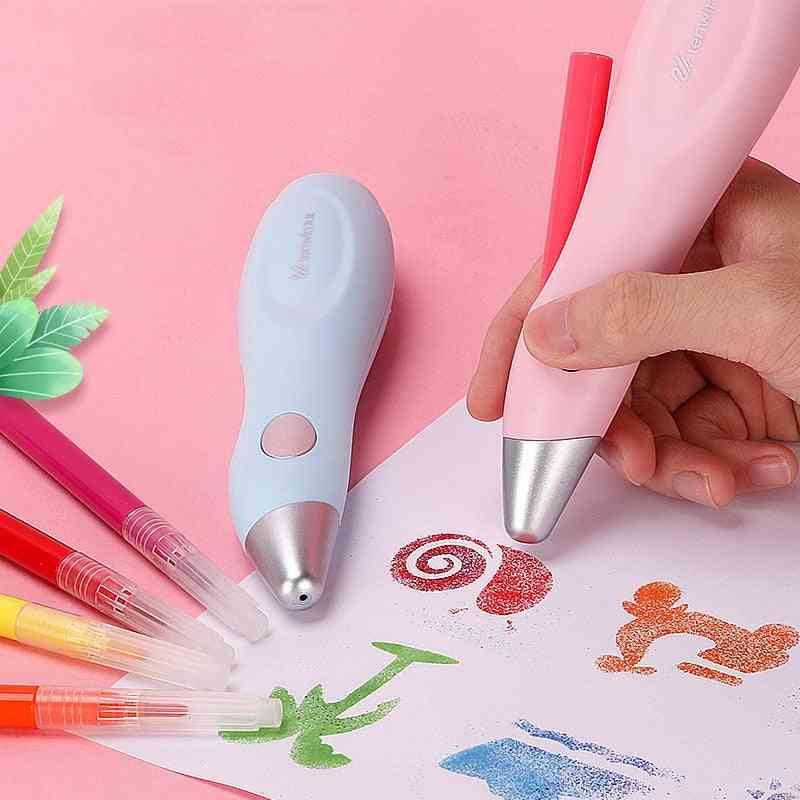 Painting Airbrush Electric Hand Drawn Pen Set, Washable, Color Spray, Home School Supplies