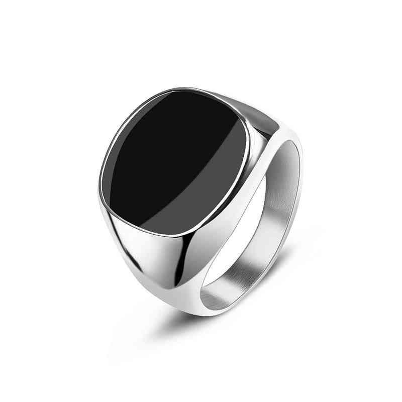 Men's Ring Punk Rock Smooth 316l Stainless Steel Signet Ring