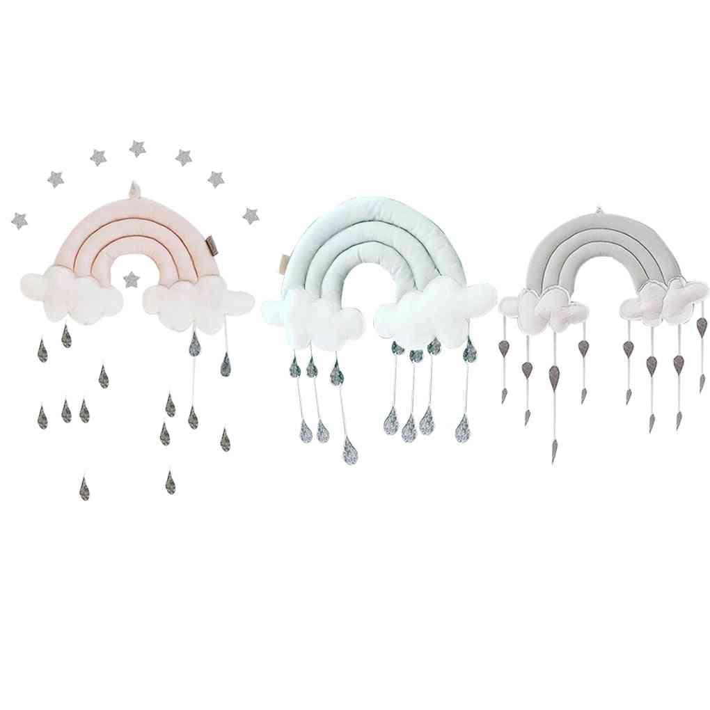 Newborn Cloud Rainbow Raindrop Wall, Baby Bed Tent Pendant Crib, Hanging Room Ornament, Infant Photo Props