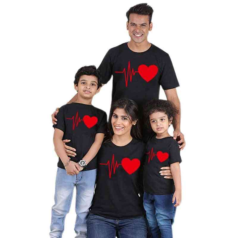 Family Matching T-shirt, Lovely Mom Dad Kids Clothes