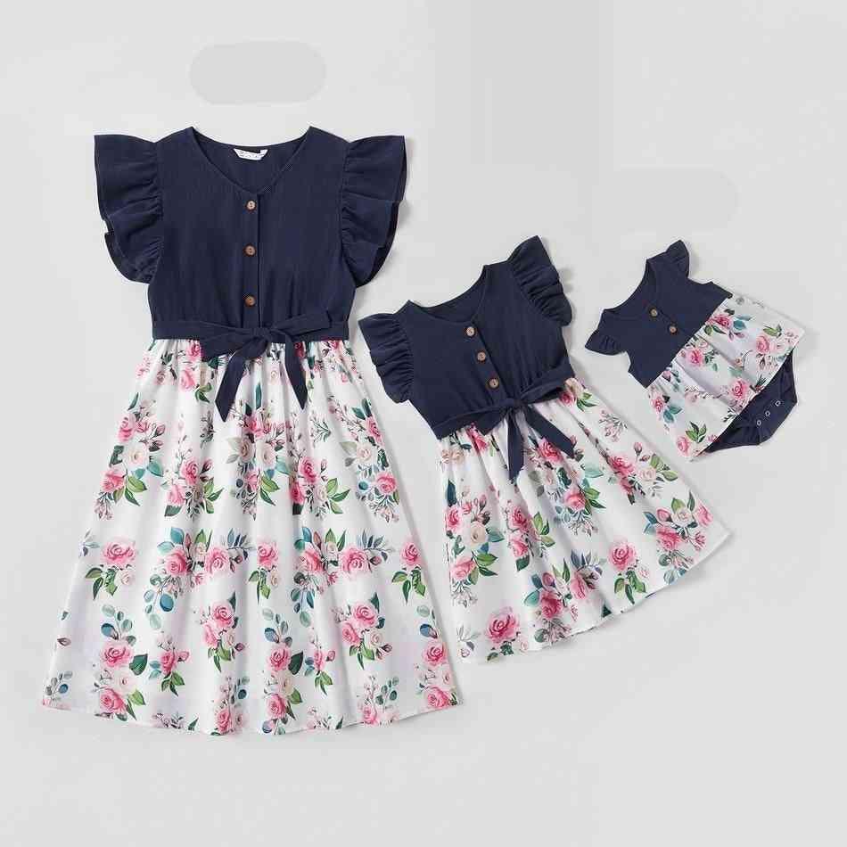 Family Dresses Set, Flower Mom Baby Clothes, Dress