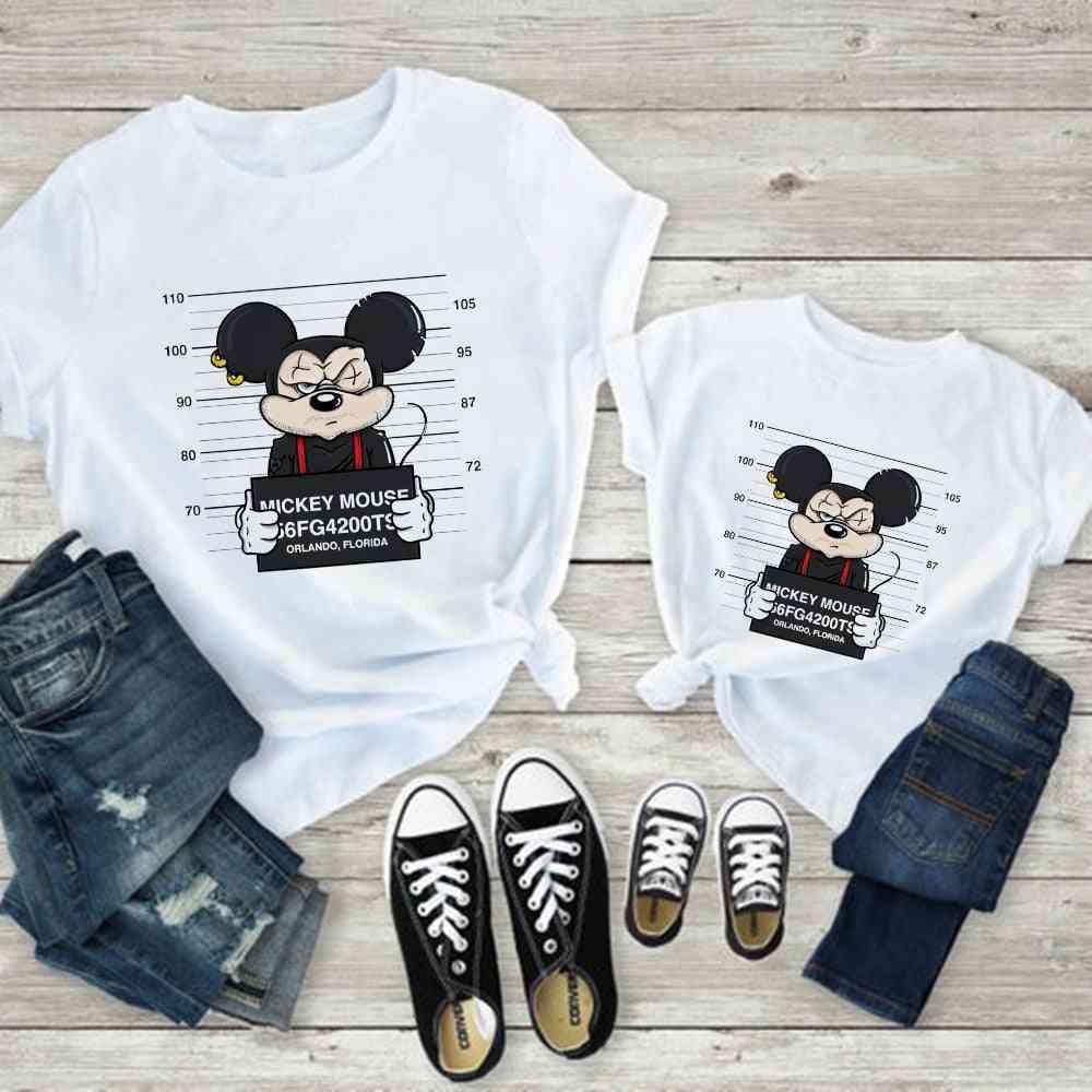 Women T-shirt, Mouse Print T-shirt, Casual White Short