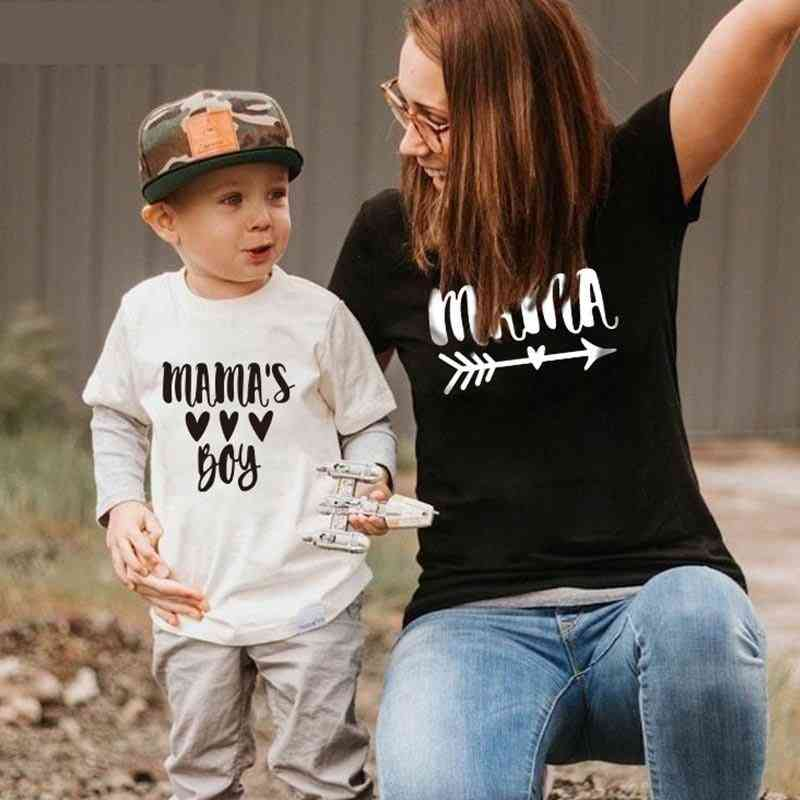 Summer Family Matching Short T-shirt, Mommy And Son Print T-shirt