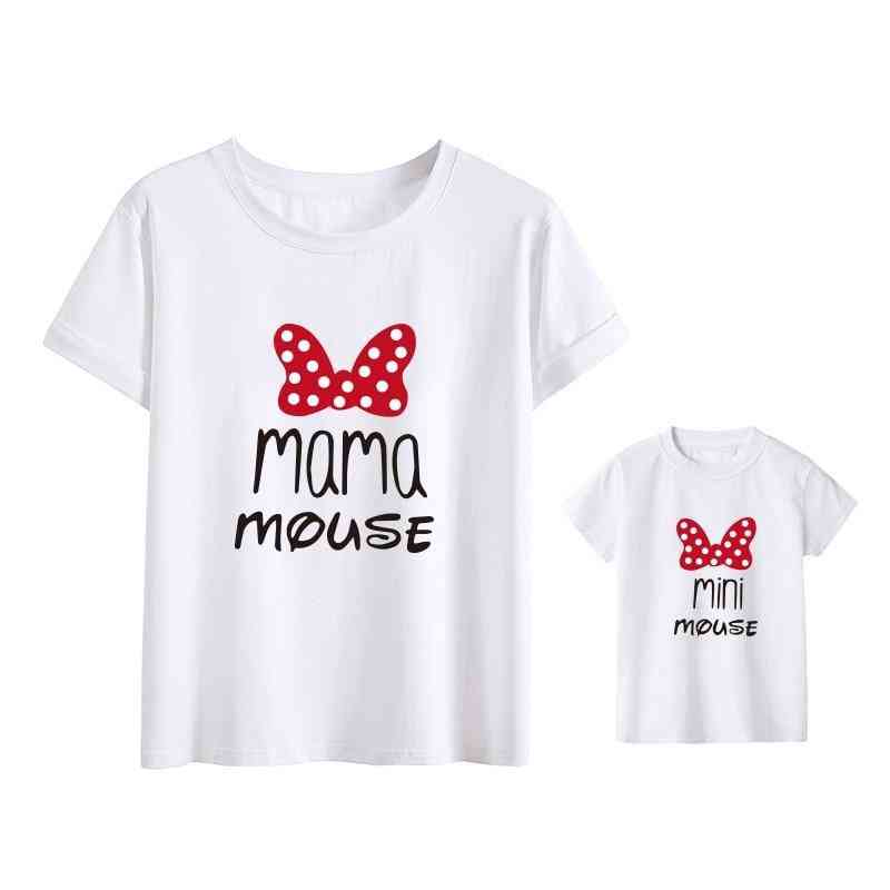 Cotton Family Matching Clothes, Outfits Mother And Daughter T-shirt