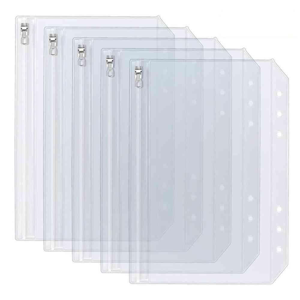 A5 A6 Clear Binder Cash Envelopes With Metal Zipper 6-hole Punched Binder Pocket