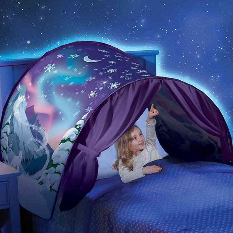 Children's Bed Sleeping Foldable Unicorn Mosquito Net, Tent Light-blocking Canopy, Indoor, Home Decoration With Storage Pocket