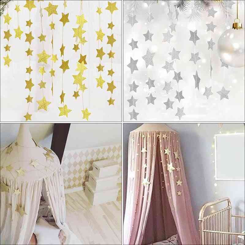 Baby Room Decoration, Infant Bed Mosquito Net Hanging, Stars Crib's Rooms, Walls Decor