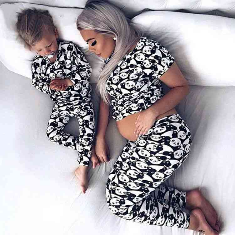 Spring Family Matching Mother Daughter Son Clothes, Pyjamas Suits