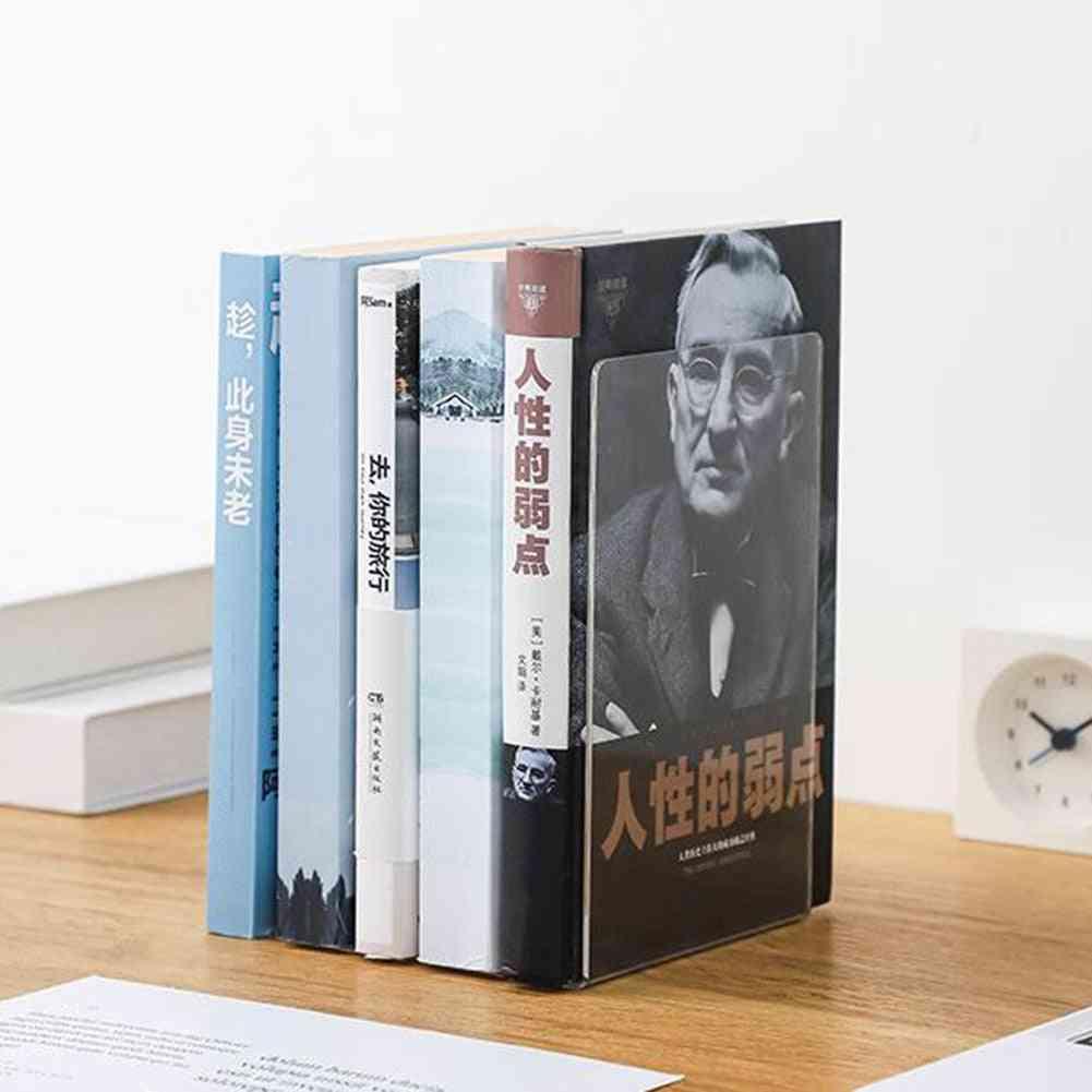 Transparent Acrylic Bookends Book Support Shelf Rack Desk