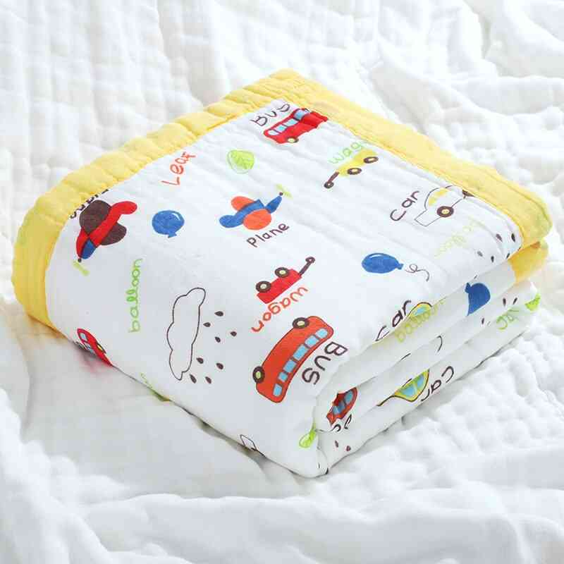 Autumn Pure Cotton Cartoon Printing Wide Edgings Quilt, Baby Wrap, Bath Towel Cover Blanket