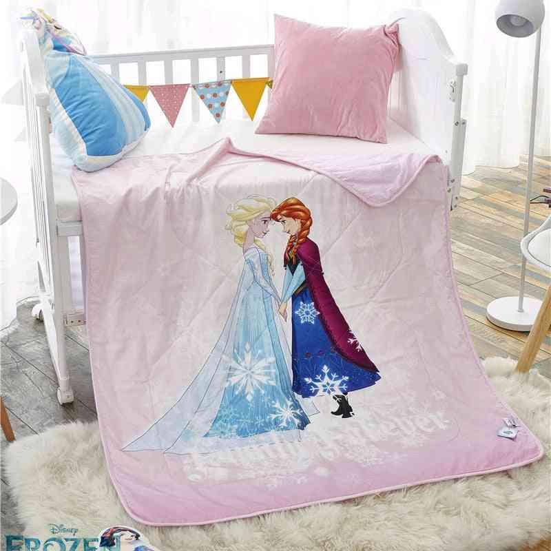 Disney Princess Elsa, Anna Frozen, Toddler Summer Quilt, Kindergarten Holiday Blanket, Baby Crib Bed
