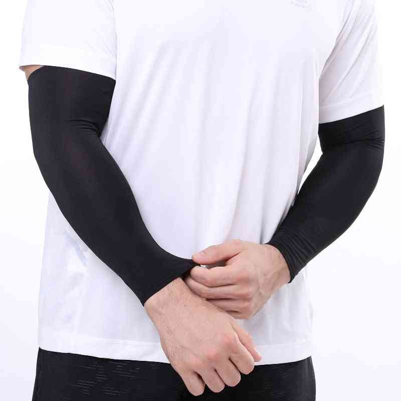 Men Breathable Dry Sun Uv Protection Running Arm Sleeves Basketball Pad