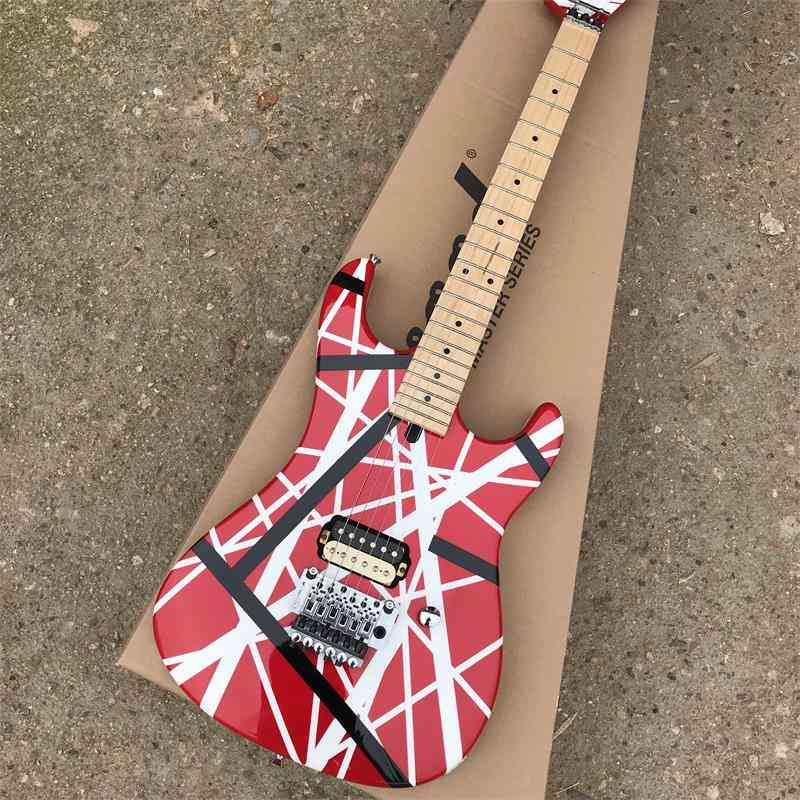 Red And White Line Electric Guitar