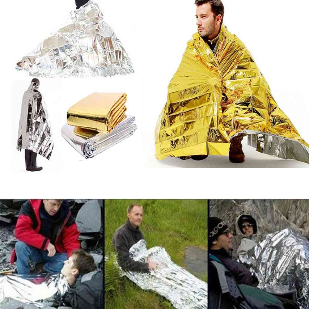 Outdoor Water Proof Emergency Survival Rescue Blanket, Foil Thermal Space, First Aid Sliver Curtain, Military Blanket Tool
