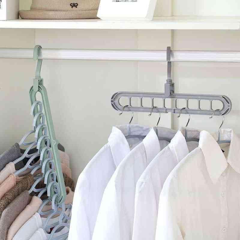 Baby Care Nine Hole Rotating, Multifunctional Folding Hanger, Wardrobe Drying Clothes, Scarf Storage Tool