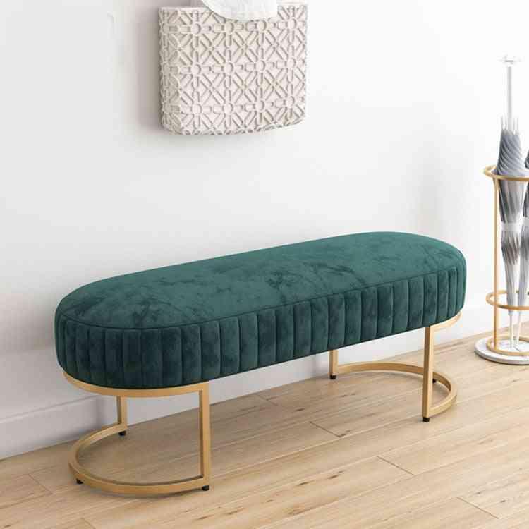 Soft Velvet Long Bench Shoe Stools For Home