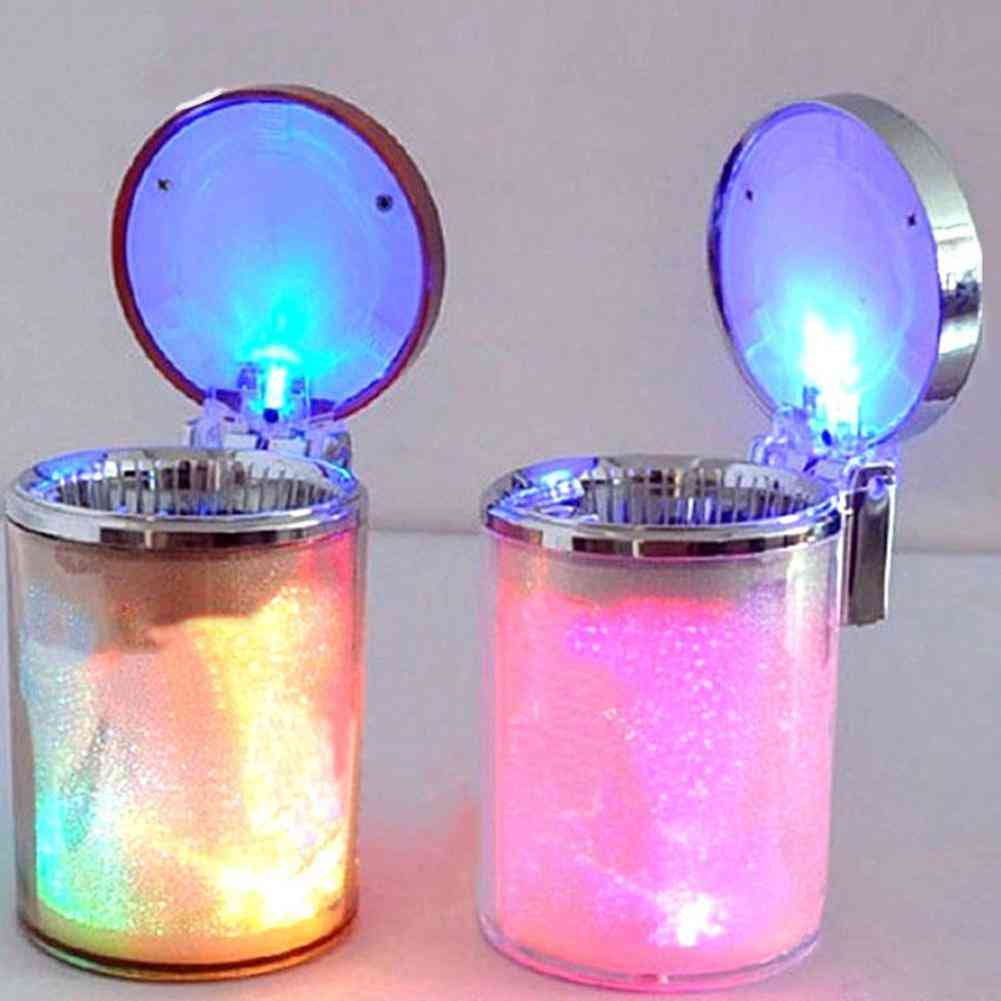 Auto Car Led Light Cylinder Ashtray Container