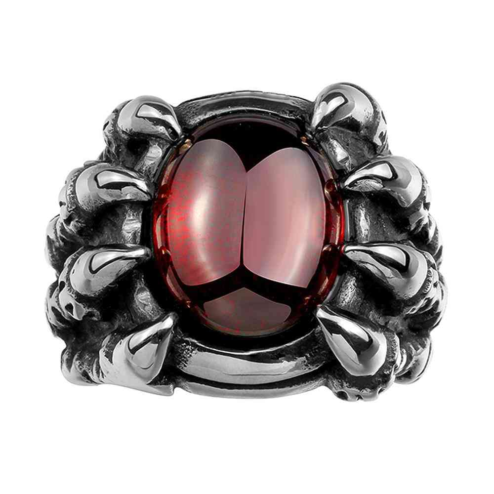 316l Stainless Steel Red Crystal Claws Men's Ring
