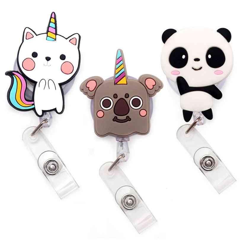Cute Panda And Rabbit Retractable Card Holder