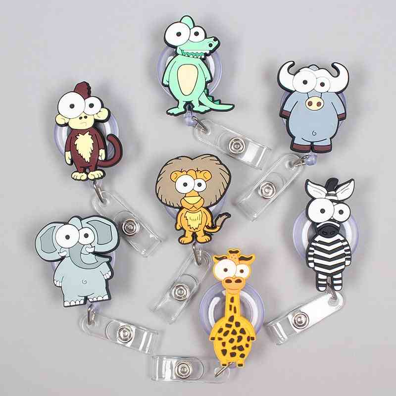 Cartoon 60cm Silicone The Forest Animals Retractable Badge Reel Id Card Chest