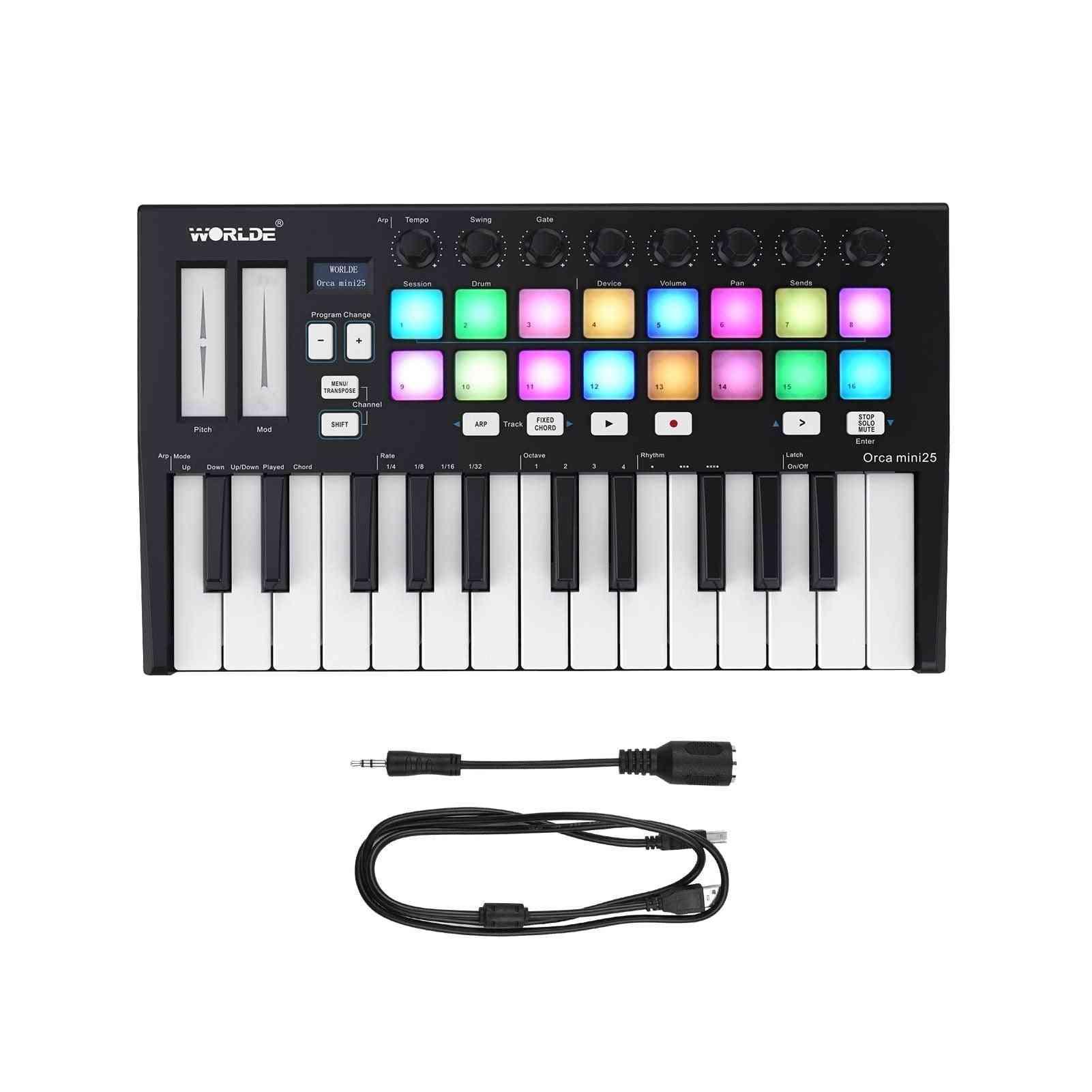 Hot Worlde Panda Midi Keyboard Midi Controller & Drum Pad Mini 25-key Ultra-portable Usb Midi Keyboard Controller Led 7 Styles