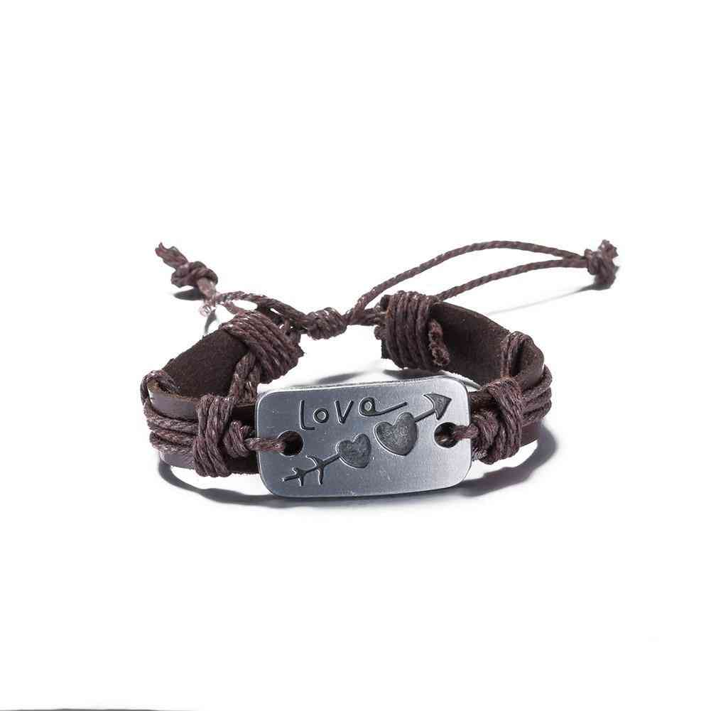 Love Arrow Vegan Leather Bracelet In 18k White Gold Plated