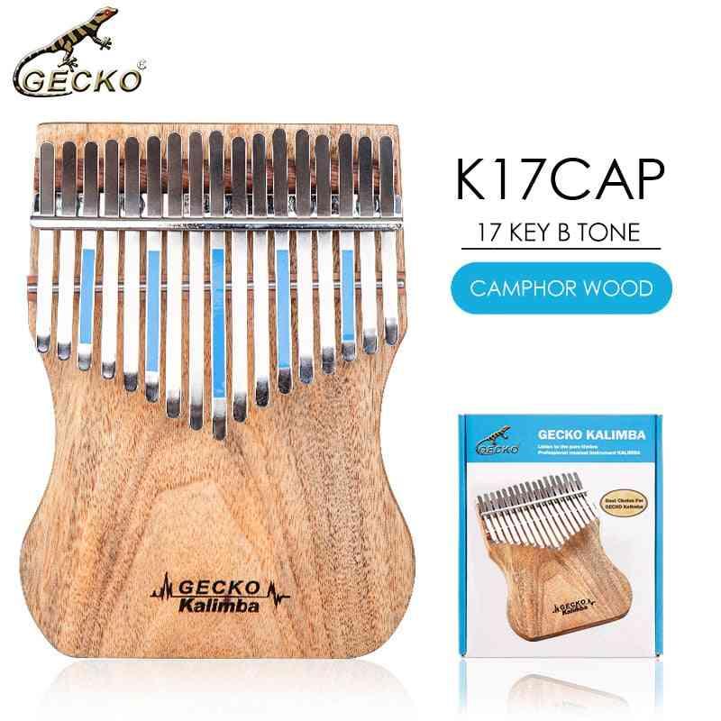 B Tone Gecko Kalimba 17 Keys Full Veneer Camphor Wood,with Instruction And Tune Hammer, Portable Thumb Piano Mbira Sanza K17cap