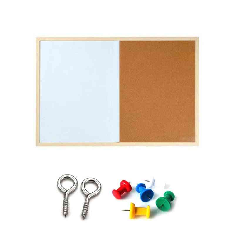 Message Cork Board, Wood Frame, Whiteboard Drawing Combination Magnetic Boards