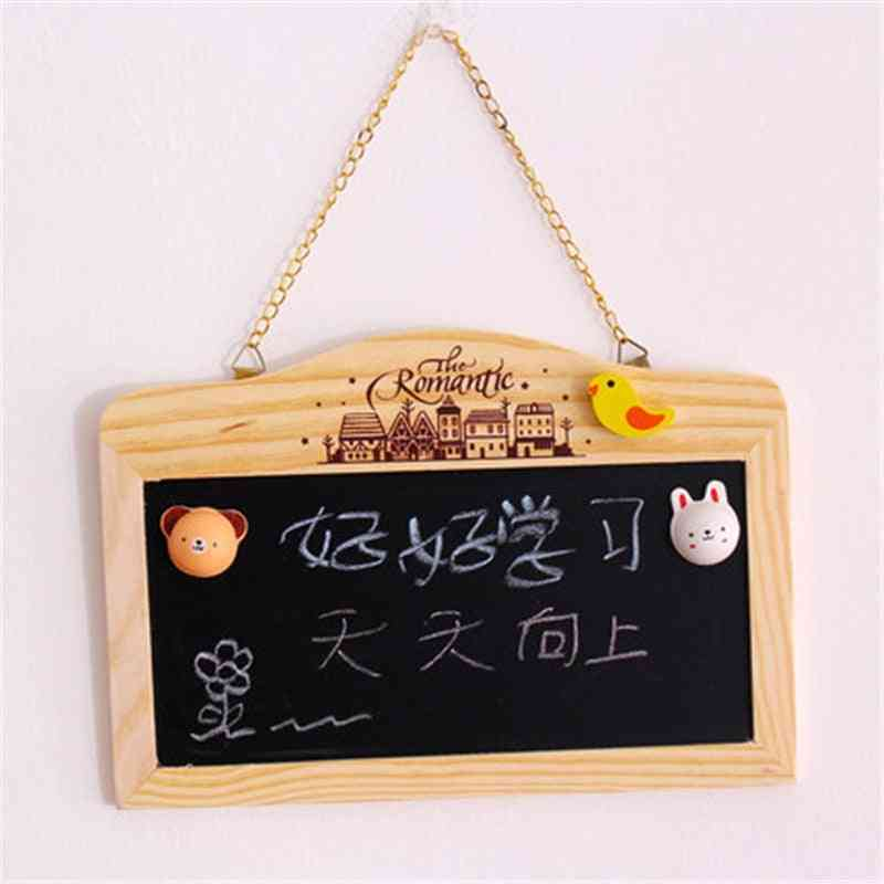Wooden Blackboard, Magnetic Chalkboard, Wall Hanging Decor, Message Shop Signboard, House Number, Double-sided, Small Whiteboard