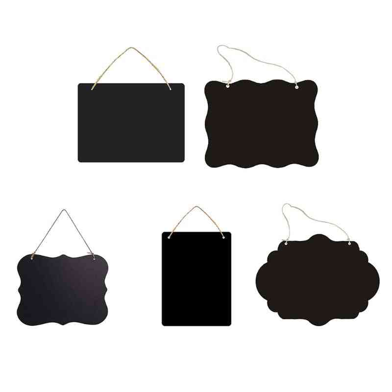 Rustic Chalkboard Hanging Signs, Double Sided For Standard Chalk Message Board For Business Stores, Bars, Barber Shops