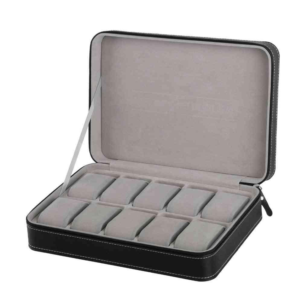 10-grids Wristwatch, Box Case With Zipper Watch, Storage Bag Box