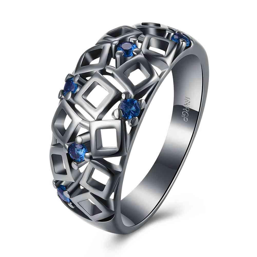 Vintage Black Gold Blue Geometrical Cutout Ring With Swarovski