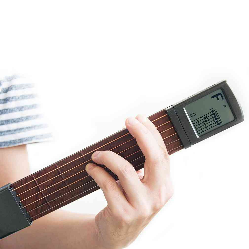 Pocket Guitar Wood+plastic Portable With Screen Display Finger Exerciser