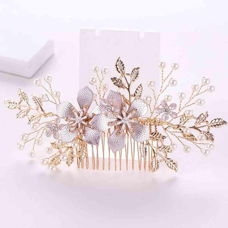 Golden Metal Crystal Pearl, Hair Combs, Jewellery, Headpiece Bridal Hair Jewelry, Women Wedding Accessories