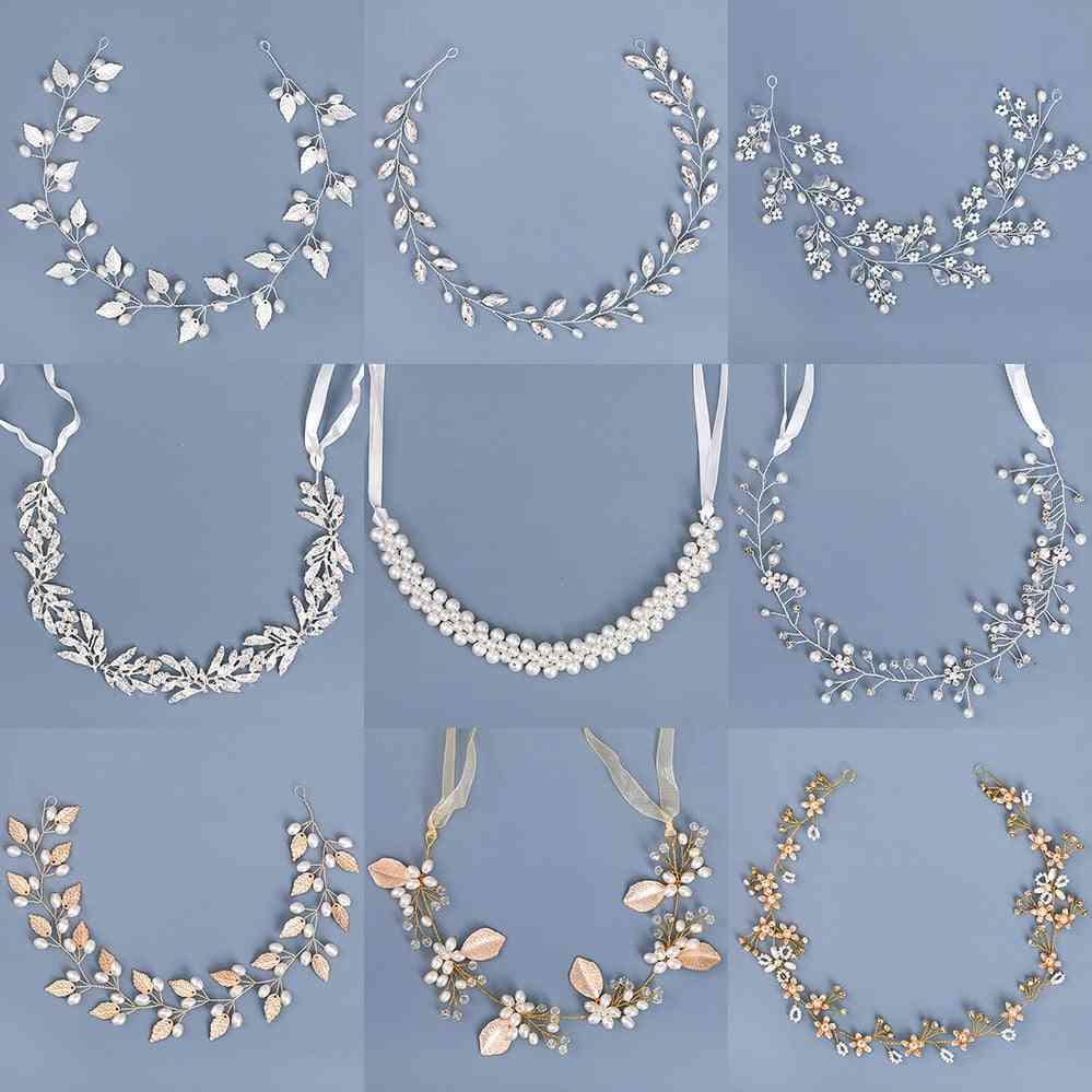 Pearl Rhinestone, Headband, Hair Accessories, Wedding Bride Headband, Leaf Flower Decoration For Head