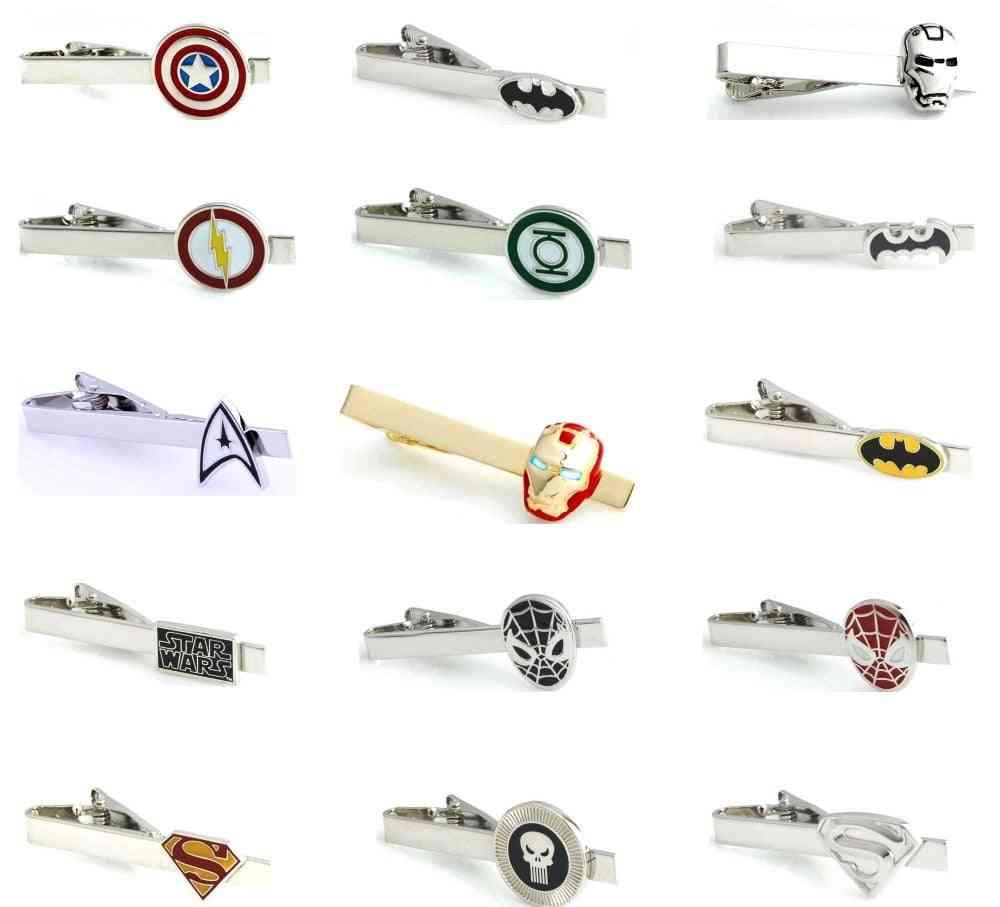 Men Tie Clips, Various Designs, Option Novel Superheroes, Copper Material, Pins