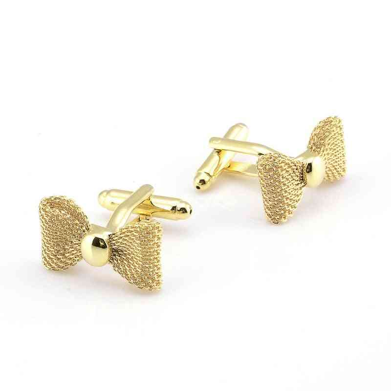Metal Bow Cuff Links, Gold Sliver Color, Business Party Shirts For Cufflink, Jewelry Men Accessories