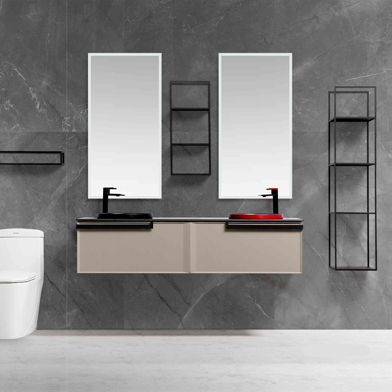 Bathroom Furniture, Light Luxury Solid Wood Cabinet, Ceramic Basin, Led Mirror