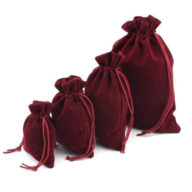 Multi Size Wine Red Drawstring Velvet Bags Organza Storage Pouches