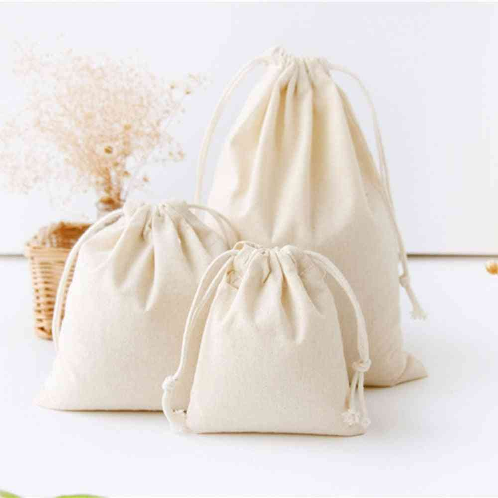 Cotton Linen Birthday Party, Wedding Favor Holder Makeup Jewelry Drawstring Pouch