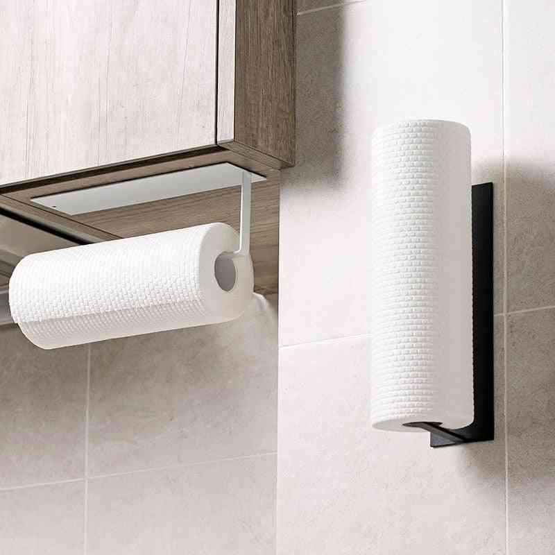 Non Perforated Paper Towel Holder Storage Rack Wall Hanging Shelf Bathroom Organizer