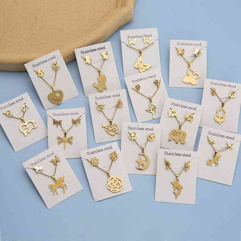 Flower Butterfly Stainless Steel Pendant Necklace Sets, Chain Earrings Jewelry
