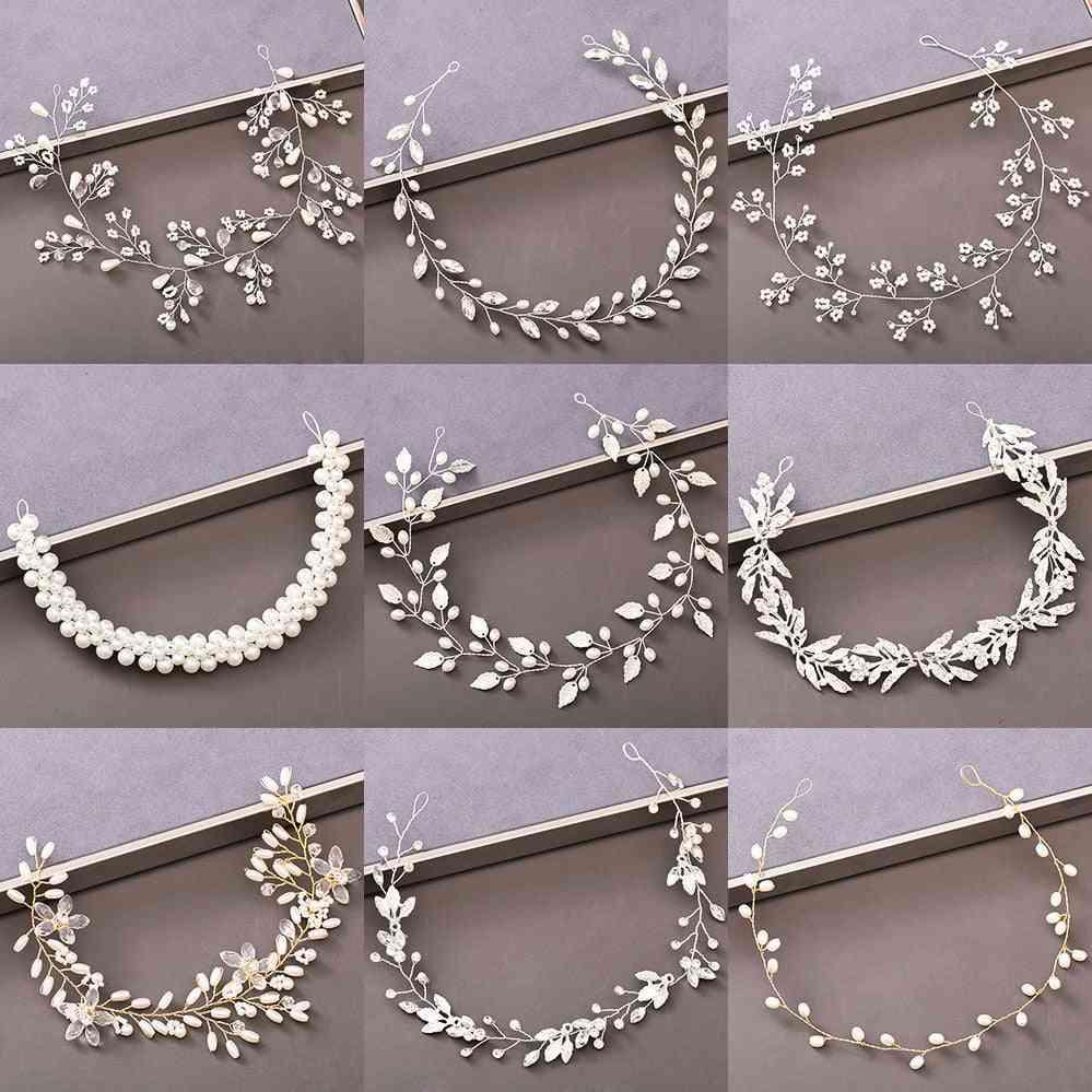 Pearl Rhinestone, Women Headband, Wedding Hair Accessories For Bride, Tiara Headband, Jewelry  Hairband