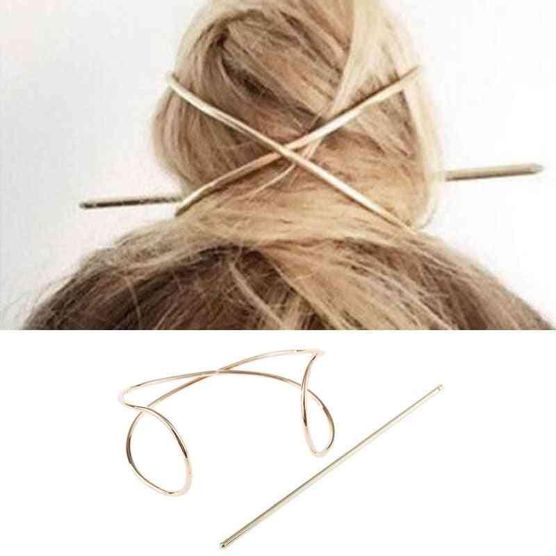 Metal Hair Stick, Head Accessories, X Shaped Bun Holder, Charming Vintage Cage