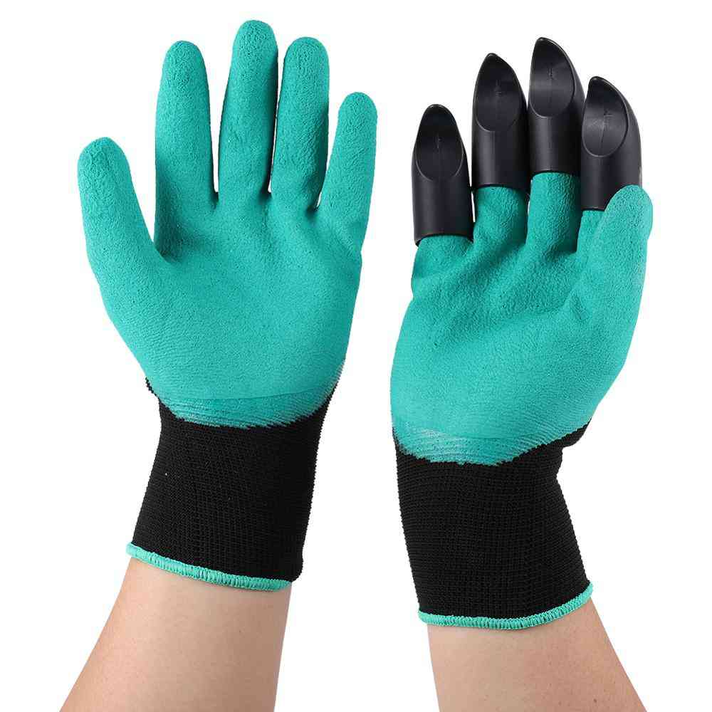 Plastic Garden Genie Rubber Gloves Quick Easy To Dig And Plant Paw