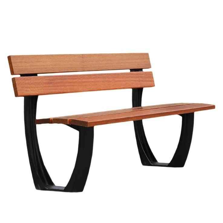 Outdoor Garden Benches Aluminum Metal Frame Teak Wood Slats Seat