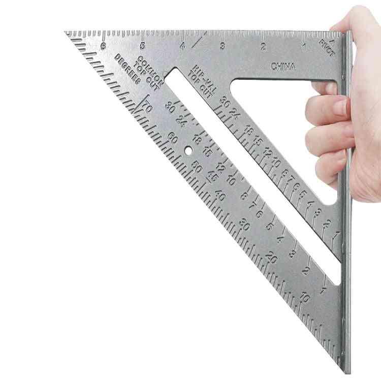 Aluminum Alloy Triangle  Ruler Protractor Woodworking Measurement Tool
